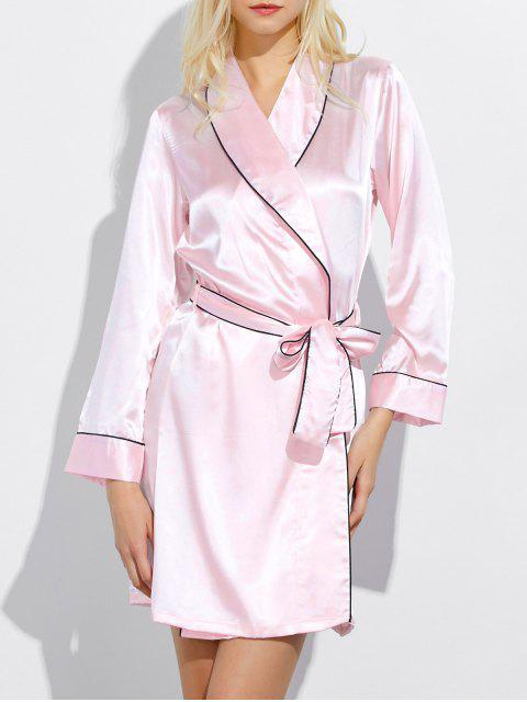unique Bowknot Wrap Sleep Robe - LIGHT PINK M Mobile
