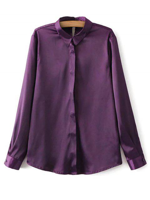 fancy Satin Boyfriend Shirt - PURPLE M Mobile