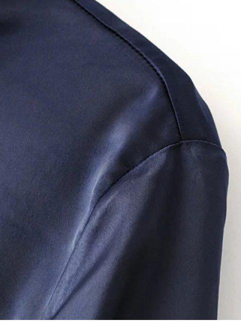 chic Satin Boyfriend Shirt - PURPLE L Mobile