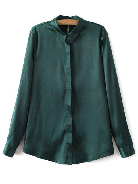 buy Satin Boyfriend Shirt - GREEN S Mobile