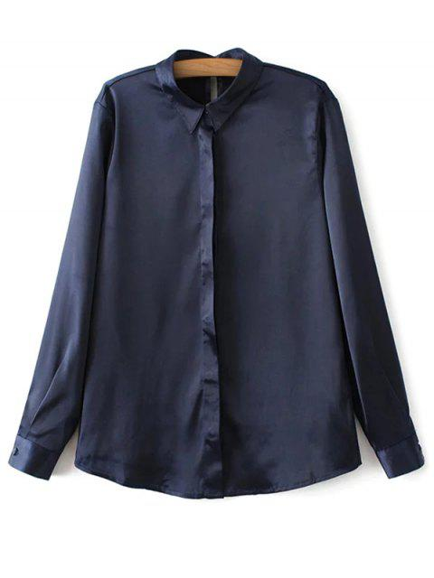 women's Satin Boyfriend Shirt - CADETBLUE S Mobile