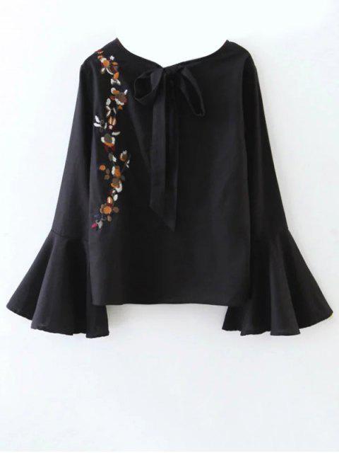 Recortable la llamarada de la manga de la blusa floral atado - Negro S Mobile