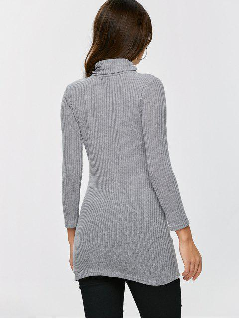 fashion Fitted Turtleneck Jumper - GRAY XL Mobile