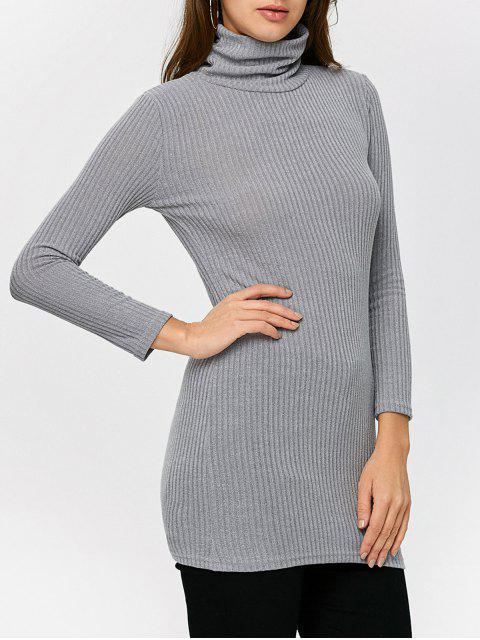 fancy Fitted Turtleneck Jumper - GRAY M Mobile