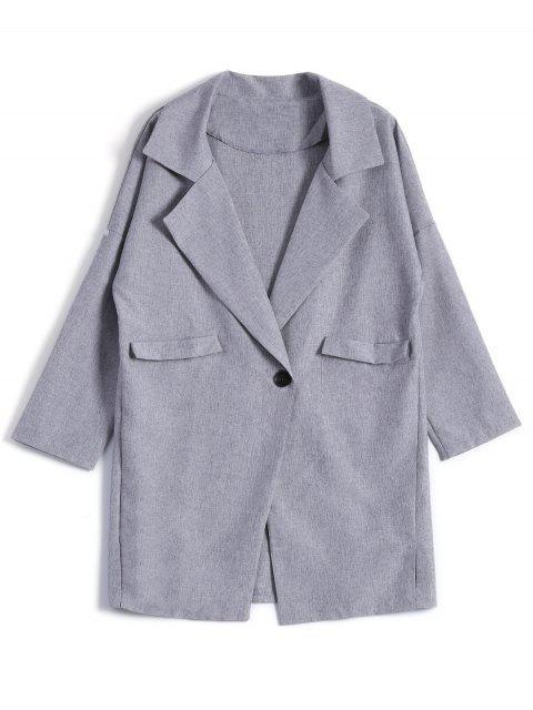 shops One Button Plus Size Blazer - GRAY 4XL Mobile