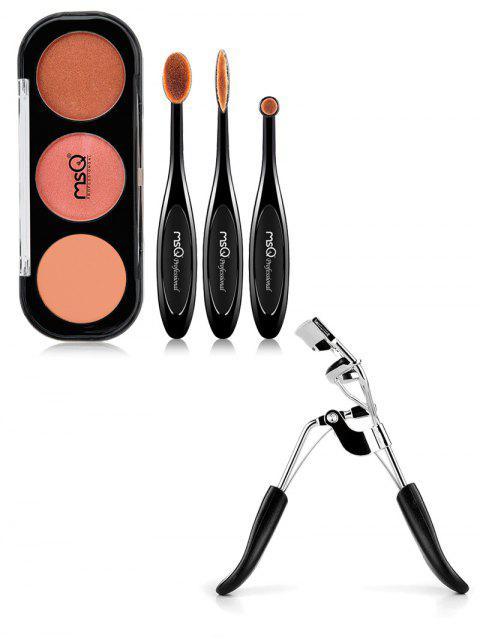womens Eyeshadow Kit and Eyelash Curler - BLACK  Mobile