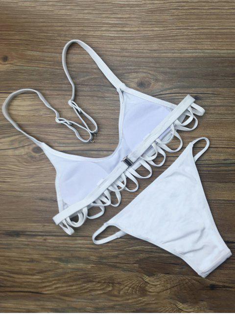 fancy Padded Spaghetti Straps Bikini Set - WHITE L Mobile