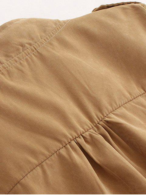 buy Epaulet Drawstring Coat - PALE PINKISH GREY L Mobile
