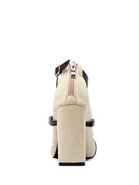 unique Strappy Zipper Chunky Heel Pumps - LIGHT KHAKI 38 Mobile