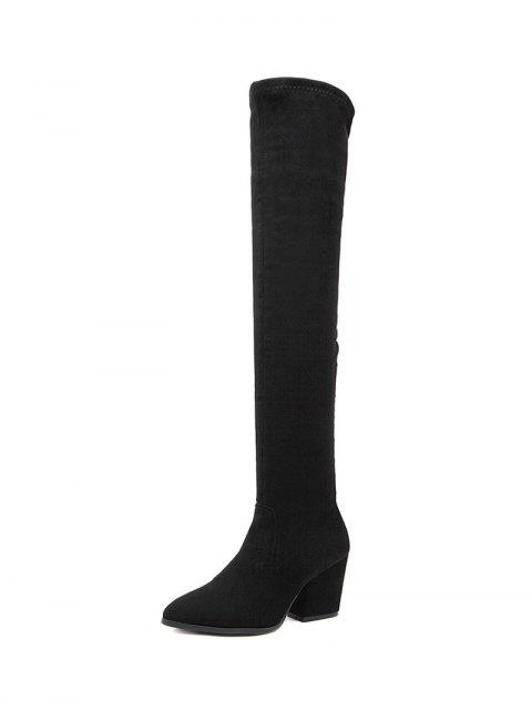 women's Chunky Heel Pointed Toe Zip Thigh Boots - BLACK 38 Mobile