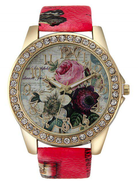 hot Rhinestone Faux Leather Rose Quartz Watch - RED  Mobile
