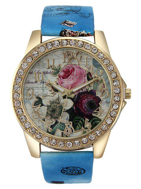 outfit Rhinestone Faux Leather Rose Quartz Watch - BLUE  Mobile