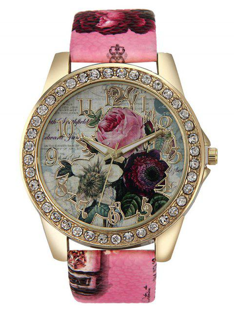 outfits Rhinestone Faux Leather Rose Quartz Watch -   Mobile