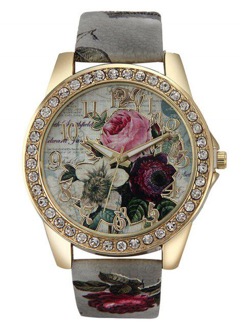 shop Rhinestone Faux Leather Rose Quartz Watch - GRAY  Mobile