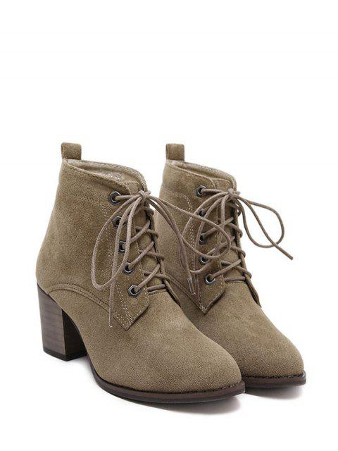 best Block Heel Tie Up Suede Ankle Boots - DARK KHAKI 38 Mobile