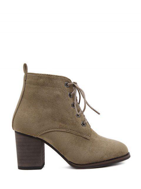 ladies Block Heel Tie Up Suede Ankle Boots - DARK KHAKI 39 Mobile