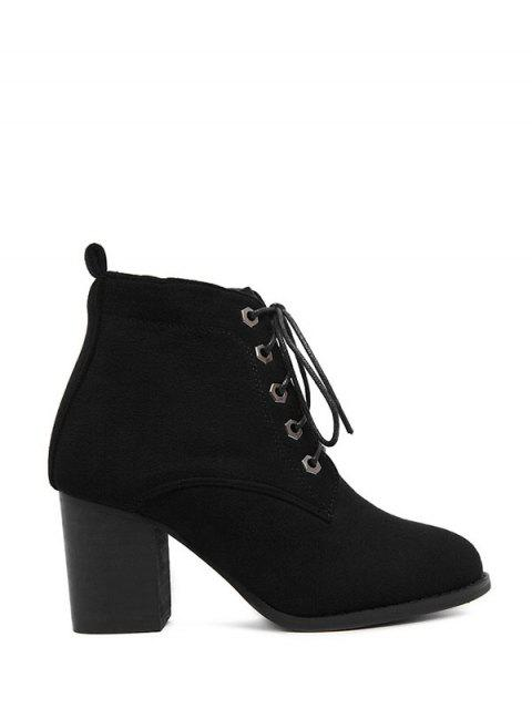 online Block Heel Tie Up Suede Ankle Boots - BLACK 39 Mobile