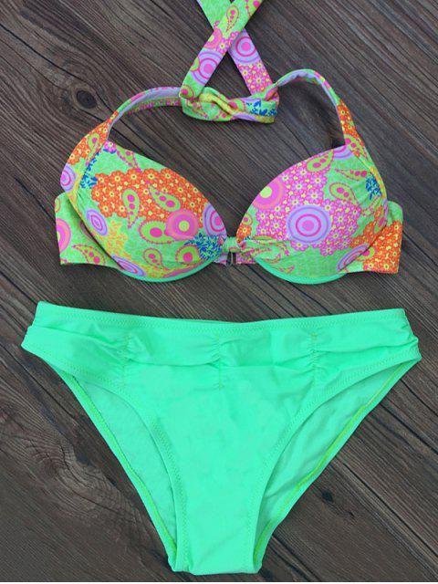 fashion Patterned Halter Bikini Set - LAKE GREEN L Mobile
