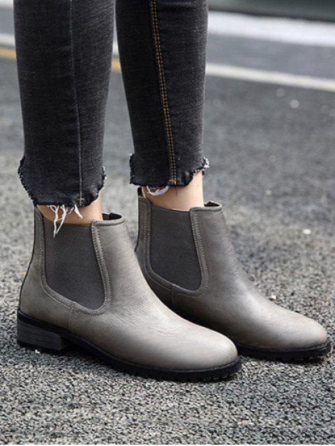 shop Elastic Round Toe Ankle Boots - GRAY 38 Mobile