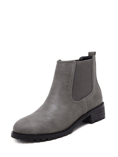 outfits Elastic Round Toe Ankle Boots - GRAY 37 Mobile