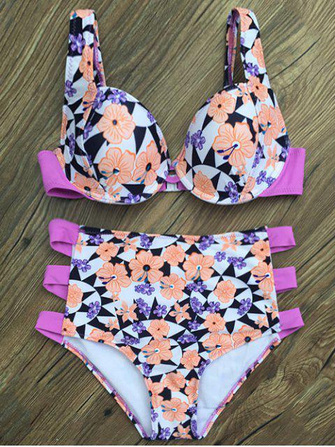 buy High Waisted Flower Print Bikini Set - WHITE M Mobile