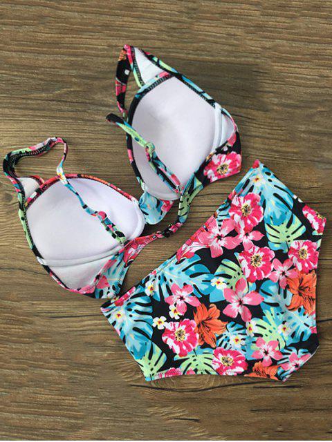women Floral High Waist Front Twist Bikini Set - FLORAL XL Mobile