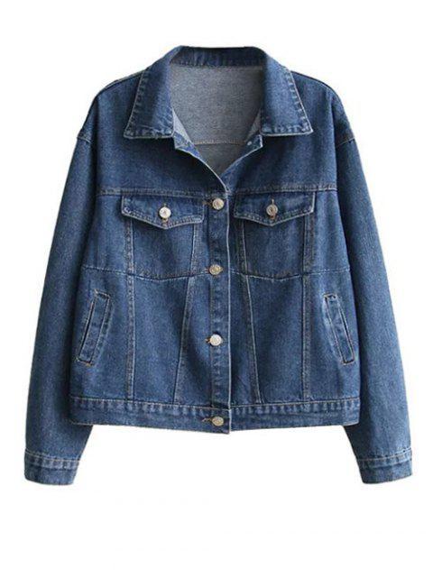 new Boyfriend Denim Jacket With Pockets - DENIM BLUE M Mobile