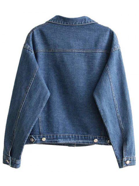 hot Boyfriend Denim Jacket With Pockets - DENIM BLUE S Mobile