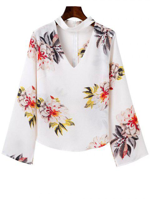 best Bell Sleeve Floral Choker Top - WHITE L Mobile