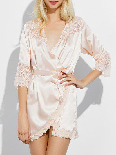 Wrap Lace Panel Sleep Robe - Champagne M