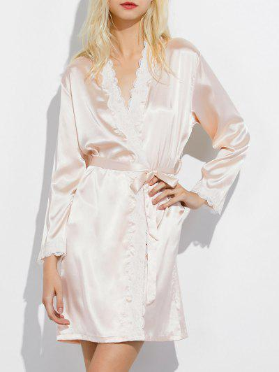 Lace Panel Sleep Wrap Robe - Champagne M