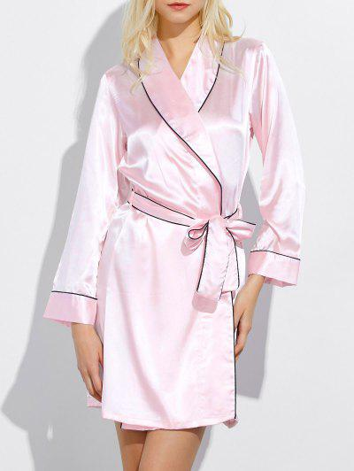 Bowknot Wrap Sleep Robe - Light Pink M