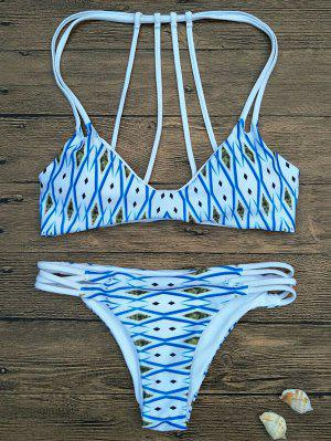Argyle Rembourrée Strappy Bikini - Bleu S