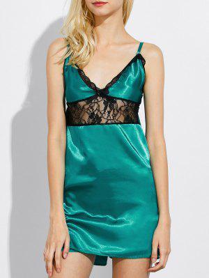 Cami Lace Panel Tank Top And Shorts Pajamas - Green 4xl