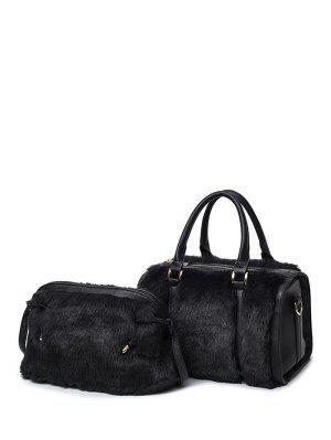 PU Leather Metal Faux Fur Tote Bag - Black
