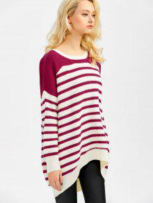 8dee3aa2bc 35% OFF  2019 Striped Oversized High Low Sweater In WINE RED XL