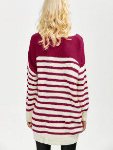 Striped Oversized High Low Sweater WINE RED: Sweaters M | ZAFUL