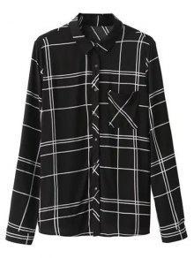 Camisa De Tela Escocesa De Montaje Con El Bolsillo - Negro M