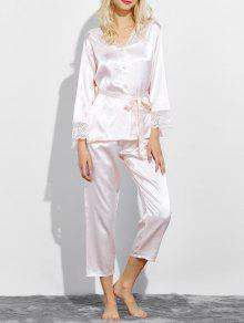Buy Belted Lace Insert Nightwear Pajamas L SHALLOW PINK