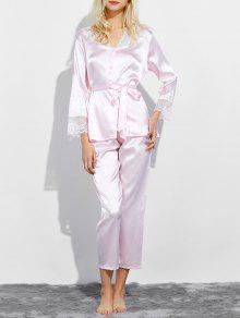 Buy Belted Lace Insert Nightwear Pajamas L LIGHT PINK