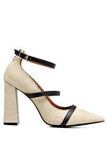 Buy Strappy Zipper Chunky Heel Pumps - LIGHT KHAKI 39