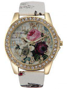 حجر الراين فو جلدية روز كوارتز ساعة - أبيض