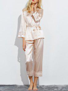 Buy Lace Panel Bowknot Nightwear Pajamas M CHAMPAGNE