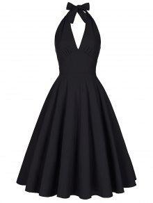 Vestido Sin Espalda Halter Escotado - Negro Xl