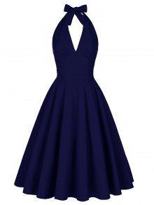 Vestido Sin Espalda Halter Escotado - Azul Purpúreo 2xl