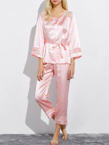 Lace Panel Bowknot Nightwear Pajamas - Light Pink L