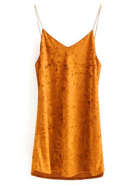 Terciopelo arrugado vestido de Cami - Naranja M