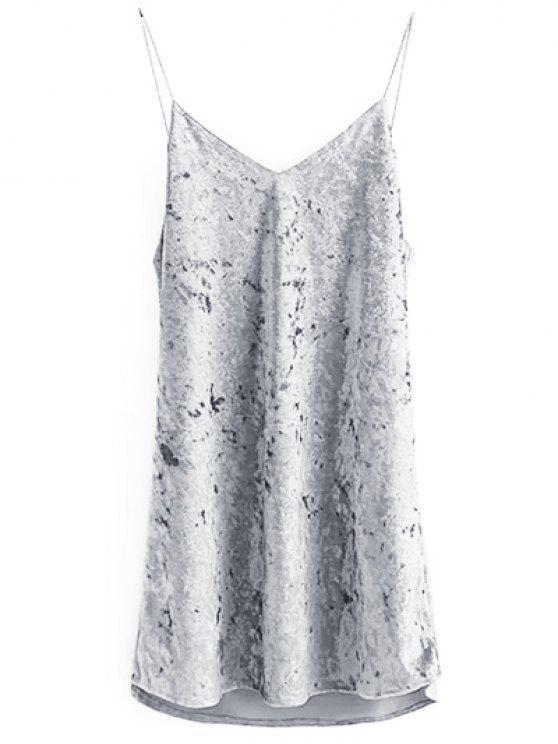 latest Crushed Velvet Cami Dress - GRAY S