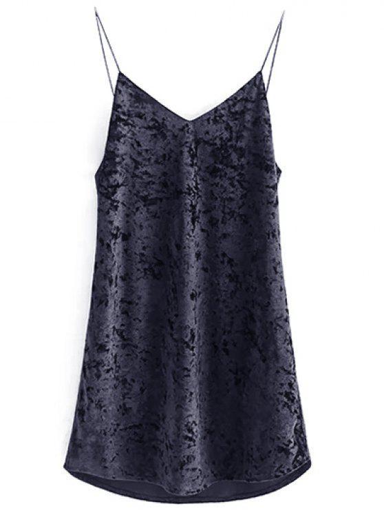affordable Crushed Velvet Cami Dress - BLACK S