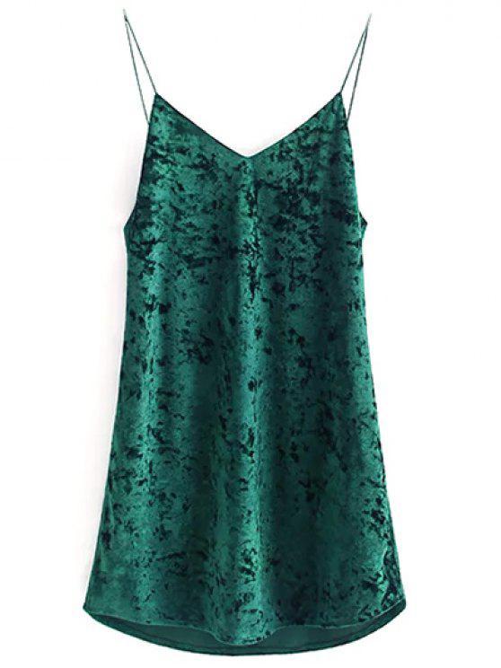 women Crushed Velvet Cami Dress - BLACKISH GREEN M